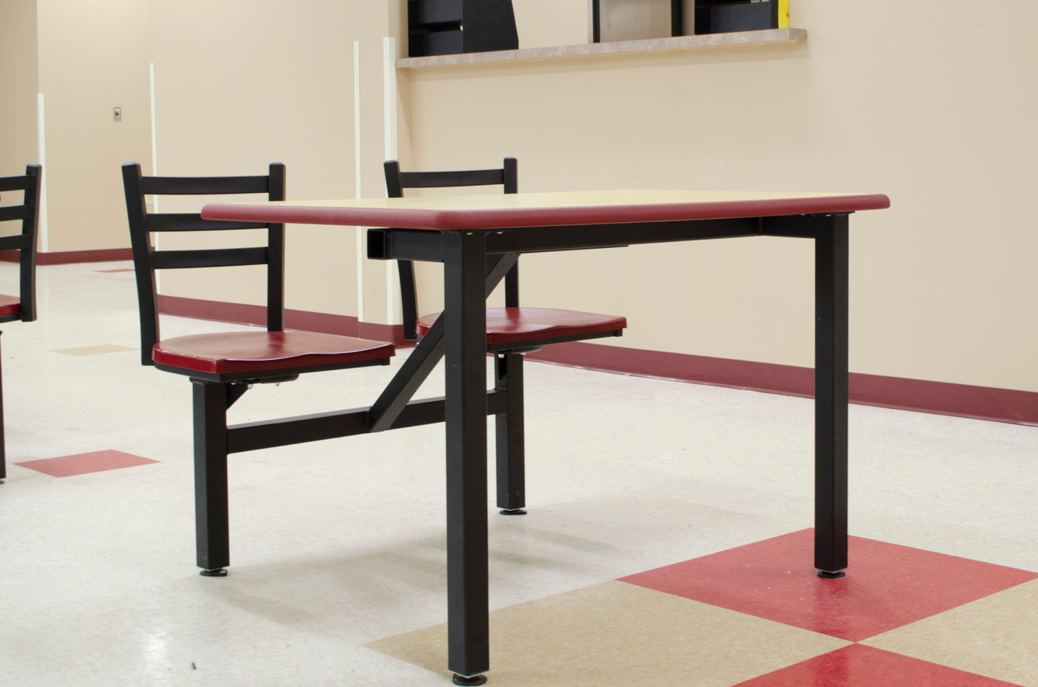 These two seat ADA compliant table, shown in rectangle, is great for cafeterias and lunchrooms.