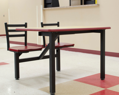 These two seat ADA compliant table, shown in rectangle, is great for cafeterias and lunchrooms.  Maximize your space using cluster seating. Clusters are ideal for breakrooms, food courts and cafeterias.   The Dur-A-Edge tables are polyurethane and are the most resilient, long-lasting table top in the industry.  Selecting the right table top for your restaurant is not only crucial for your restaurant design,  but also has a big impact on function and flow. Whether it be vinyl edge, wood edge, or other communal table options -- Plymold has plenty of options.