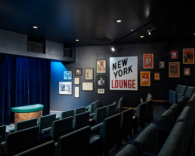 The 654 Club is a 43-seat, formal, close-up gallery. The performance space features raked theater seating, 4 removable seats for accessibility, side tables for cocktails, and magic ephemera from Chicago's past lining the walls.