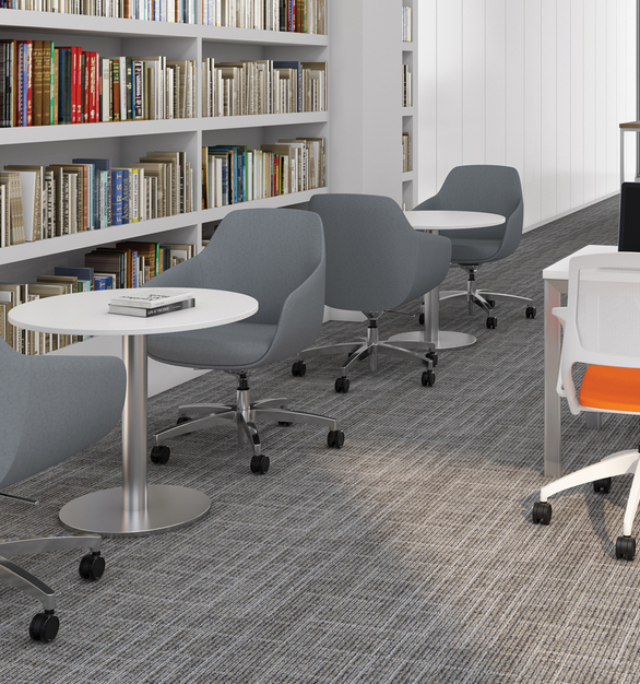 Create your own seating choice using our user-friendly Chair Designer tool, where you can specify everything from textile patterns to wood nishes. Lilly can be upholstered in thousands of different textile offerings. Choose from our carded material, graded-in fabric, or use a COM/COL textile.
