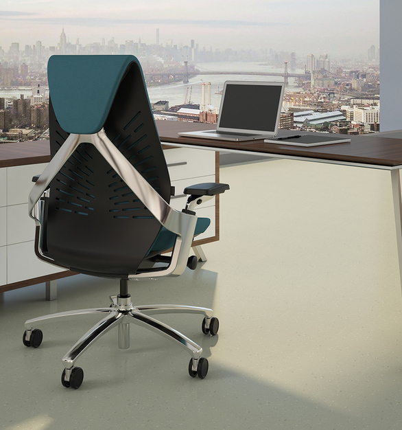 A slim layer of upholstery or mesh cushions the back while allowing easy movement. And the sweeping aluminum flourish is instantly iconic.