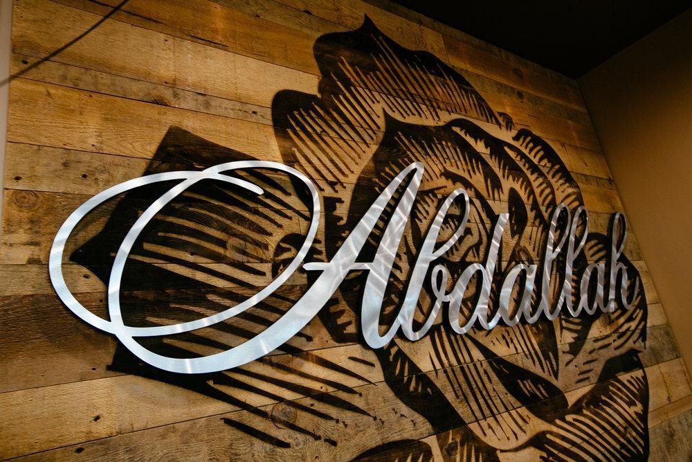 Wood Wall Panels + Sign