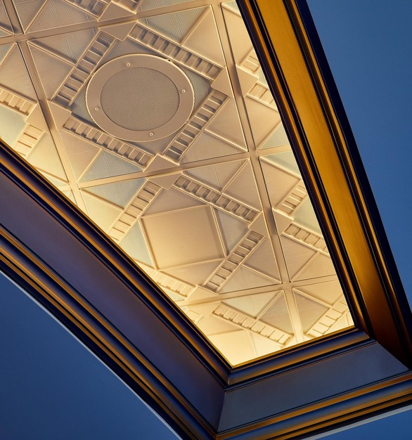 Close up View of Above View Inc's Deco 2 Square Acoustic Ceiling Tile (TL-0210) in a custom Oyster Pearl Finish