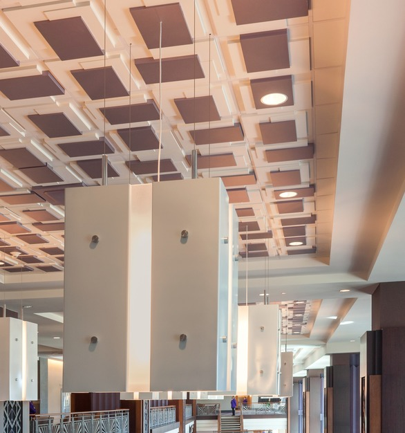 Above View's Custom Platforms Ceiling Tiles are featured in the stunning atrium of the Amon G. Carter Stadium and TCU.