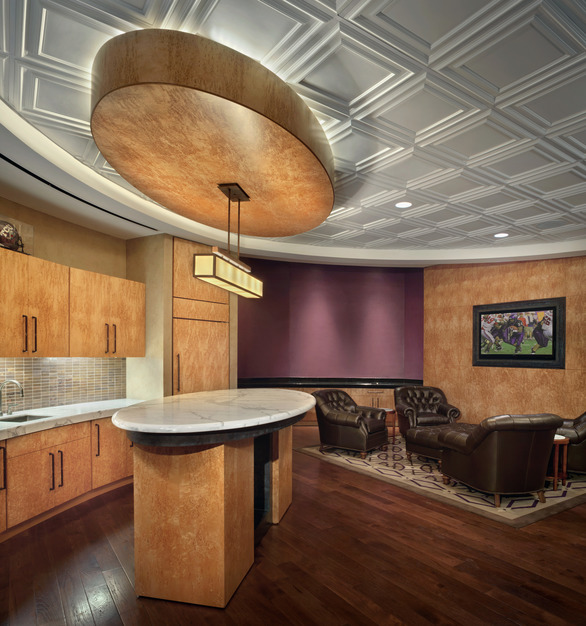 Classic Panel Ceiling Tile by Above View is one of their most popular. This panel completes the traditional design of the Stadium Suites at the Amon G. Carter Stadium at TCU.