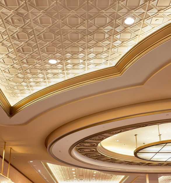 Deco 2 Square Acoustic Ceiling Tile an Oyster Pearl Finish is featured here in this elegant conference center.