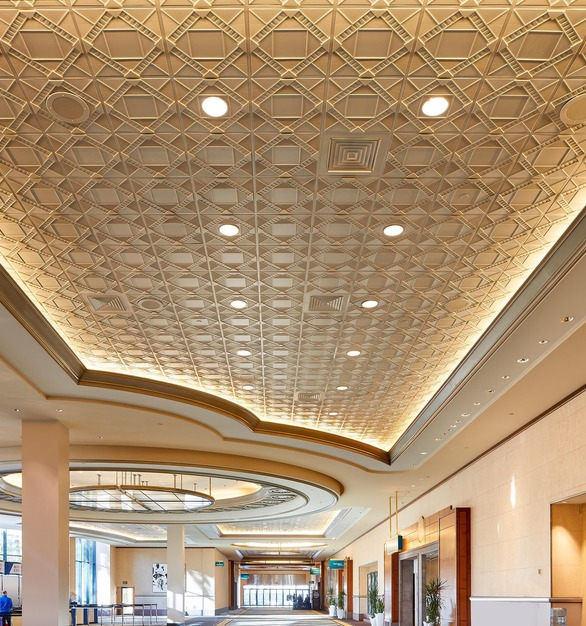 Featured here in an elegant conference center is Above View Inc's Deco 2 Square Acoustic Ceiling Tile (TL-0210) in a beautiful custom, Oyster Pearl finish.