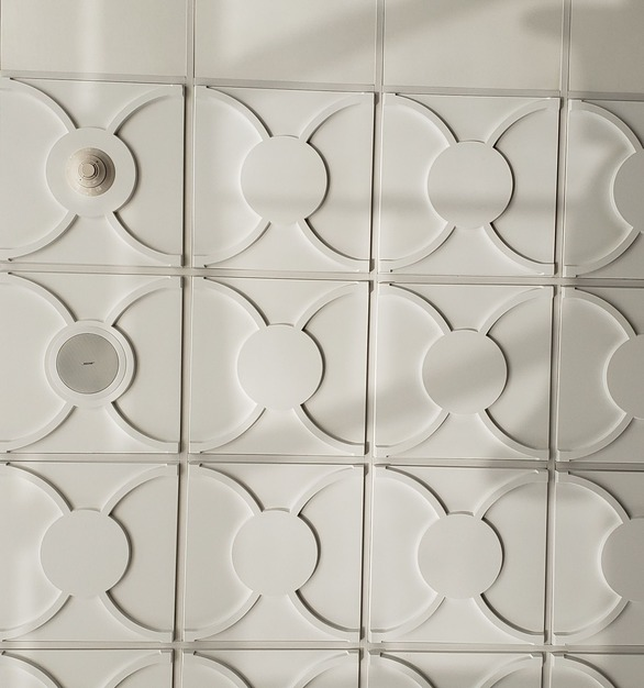 Designed to coordinate with Above View's Cloverleaf tile, the tile Flat Center Ceiling Tile features an empty center of easy installations of lights, sprinklers, or vents.
