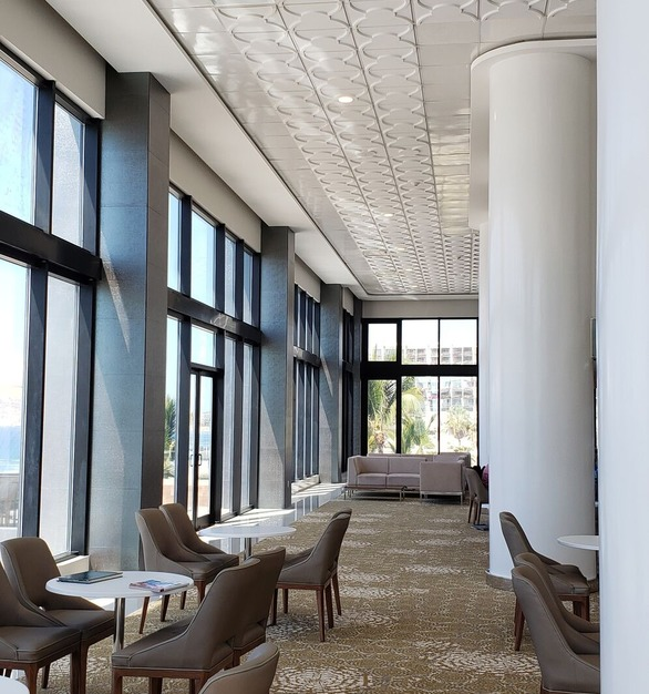 Featured in the modern Garza Blanca Hotel is Above View's Cloverleaf Flat Center Ceiling Tile's. These tiles coordinate wonderfully by adding texture to the modern design.