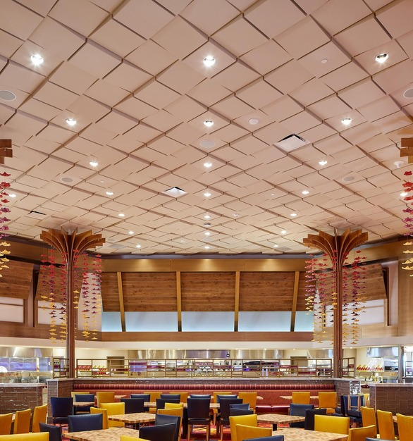 Above view Square Drop 3 Ceiling Tile makes a dramatic statement, with this deep 3in contemporary ceiling tile. This ceiling tile is also combined with Square Drop 1 and 2 to make this unique pattern at the Hard Rock Fire Mountain Hotel and Casino.