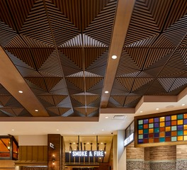 Above View Inc Palms Casino Buffet Faux Wood Grooved Quarter Pyramid Ceiling Tile Design