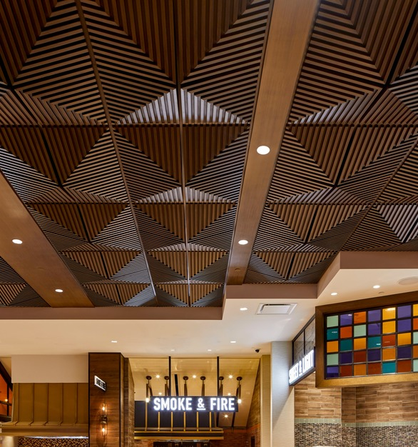 "Above View Inc's Grooved Quarter Pyramid Ceiling Tile in a custom faux wood grain finish, ""rift cut white oak"" is featured in the buffet at the Palms Casino Resort in Las Vegas, Nevada."