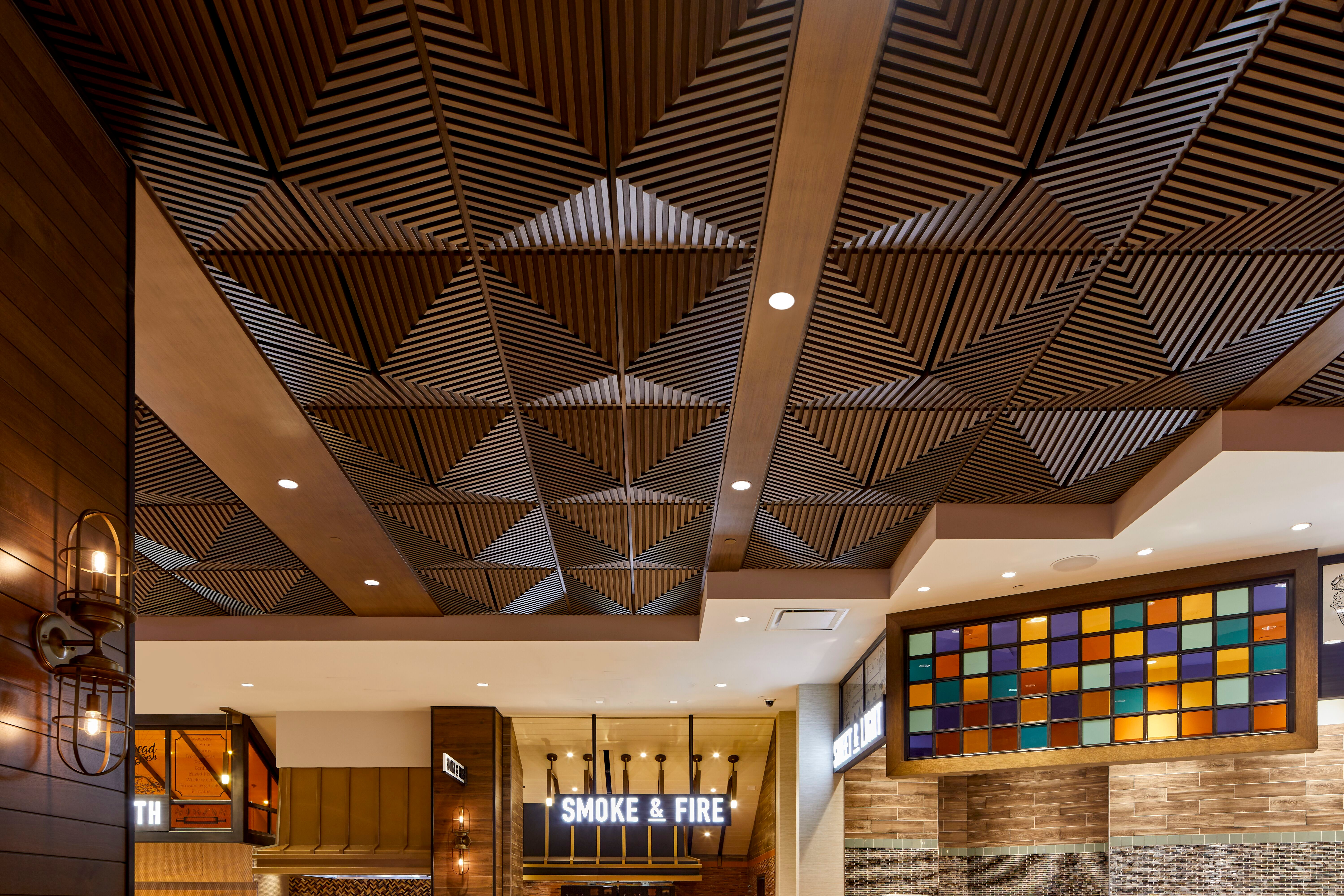 Image of: Above View Inc Palms Casino Buffet Faux Wood Grooved Quarter Pyramid Ceiling Tile Design
