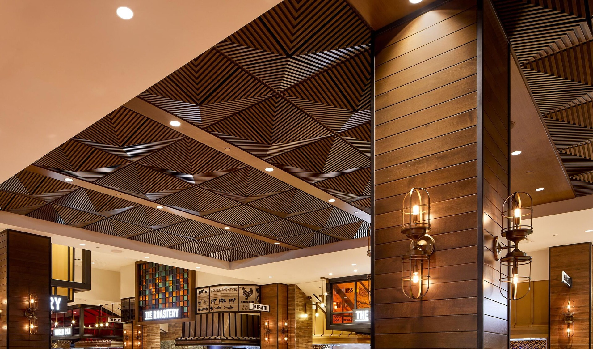 Image of: Above View Inc Palms Casino Buffet Grooved Quarter Pyramid Ceiling Tile Design