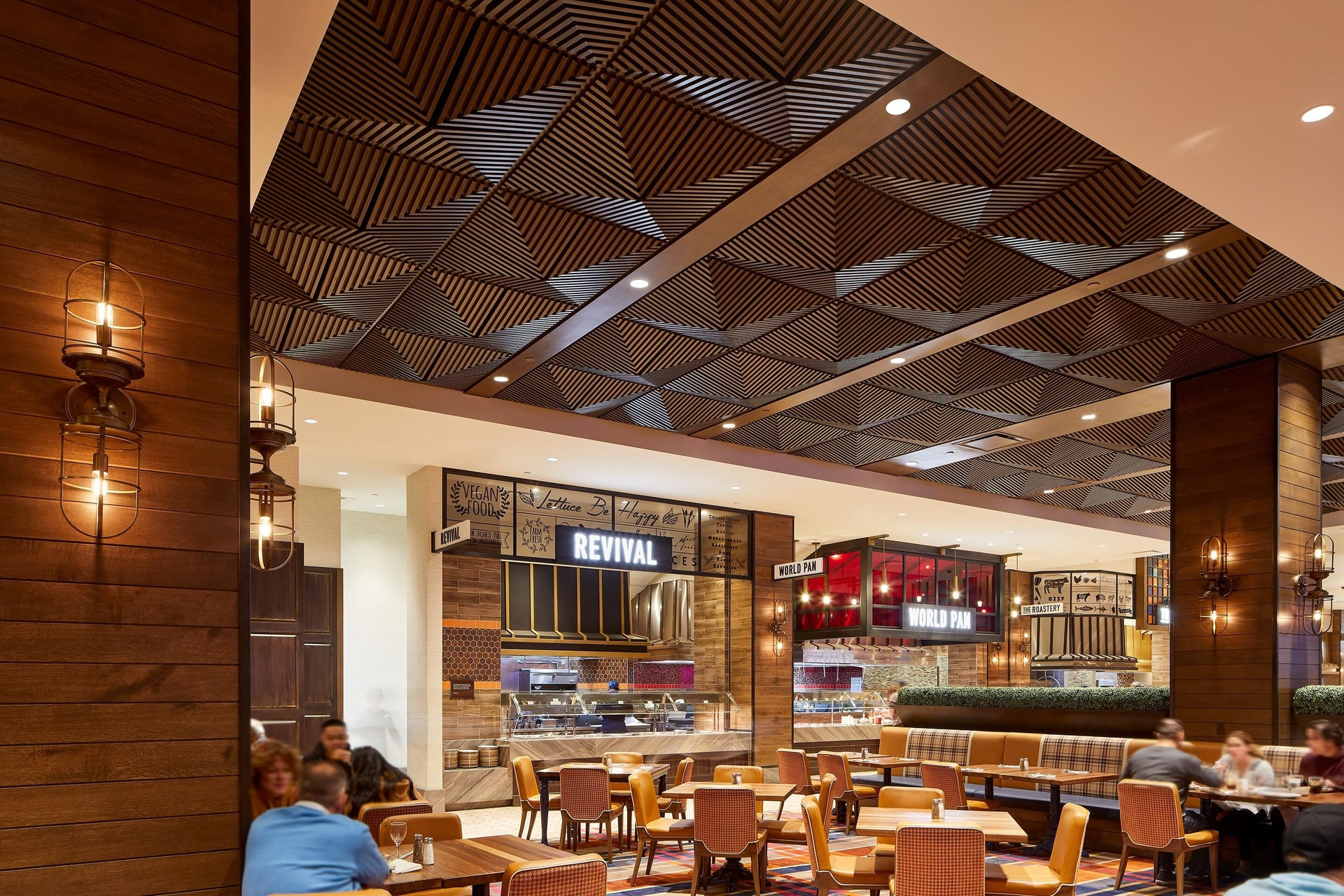 """Above View Inc's Grooved Quarter Pyramid Ceiling Tile in a custom faux wood grain finish, """"rift cut white oak"""" is featured in the buffet at the Palms Casino Resort in Las Vegas, Nevada."""