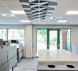 Above View Inc Twin Star Credit Union Quad Wedge Ceiling Tile Design