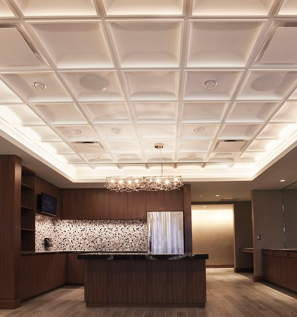 Contemporary Coffer Ceiling Tiles by Above View Inc, provide a practical and handsome ceiling solution for the executive suites at the new US Bank Stadium in Minneapolis, Minnesota.