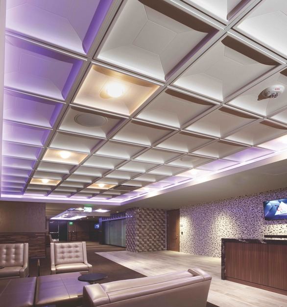 The Contemporary Coffer Ceiling Tile by Above View is a modern interpretation of the traditional coffer,  it offers a bold contemporary ceiling tile option.