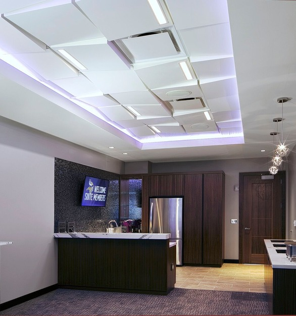 Specified for the new Vikings Stadium, the Wedge contemporary ceiling tile by Above View offers an upscale contemporary ceiling grid solution for the new US Bank Stadium Vahalla Suites.