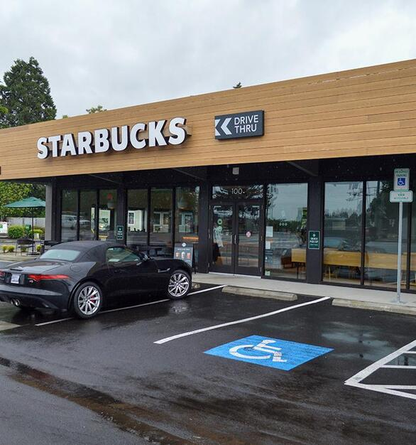 This Starbucks used the Accoya Siding in Sand to accent their storefront.
