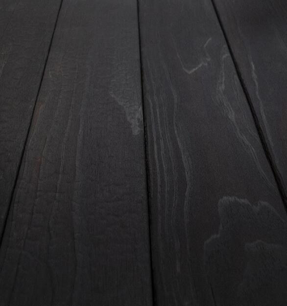 Shou Sugi Ban ACCOYA Toasted by Pioneer Millworks. Charred wood siding and paneling that is burned, brushed once, and coated with an exterior oil