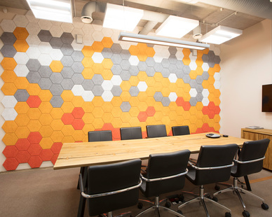 Envirocoustic™ Wood Wool shown here as a decorative wall treatment by Acoustical Surfaces.