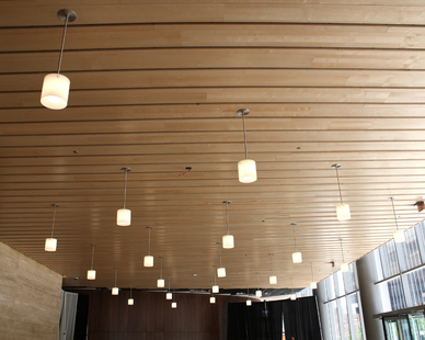 Linwood ceiling systems installed in a conference room by Acoustical Surfaces, based in Chaska, Minnesota.