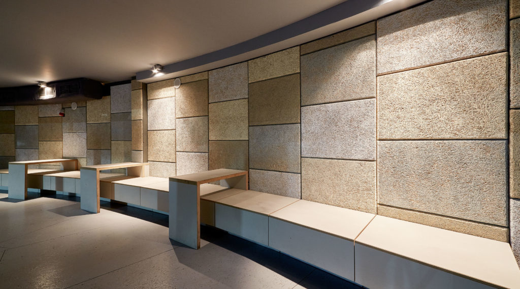 Wood Wool is now a leader in the eco-friendly, high-performance, cost-effective acoustical-panel products category. Acoustical Surfaces, Inc. provided this envirocoustic wood wool.