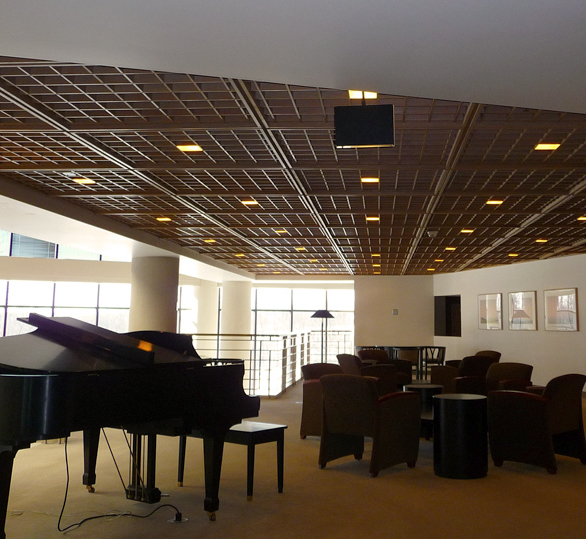 A cube acoustical ceiling provided by ASI Architectural, a brand of Acoustical Surfaces.