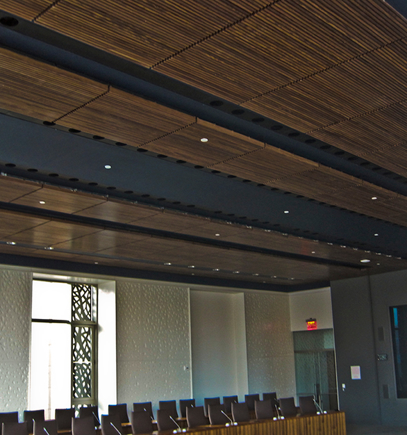 Grille Ceiling system by ASI Architectural provided by Acoustical Surfaces.