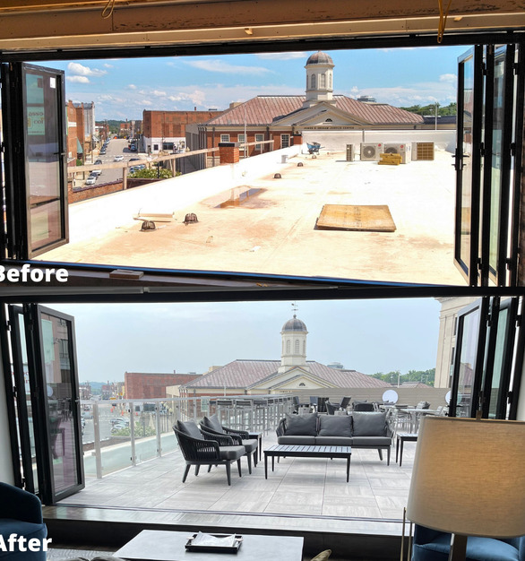 The undeveloped rooftop of the building at this location presented an opportunity to add a unique feature to The Bee – a rooftop suite and veranda. The veranda offers entertaining space and scenic views of Danville's thriving River District.