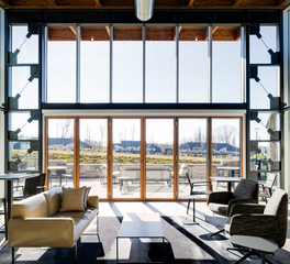 activwall clubhouse seating area glass folded doors