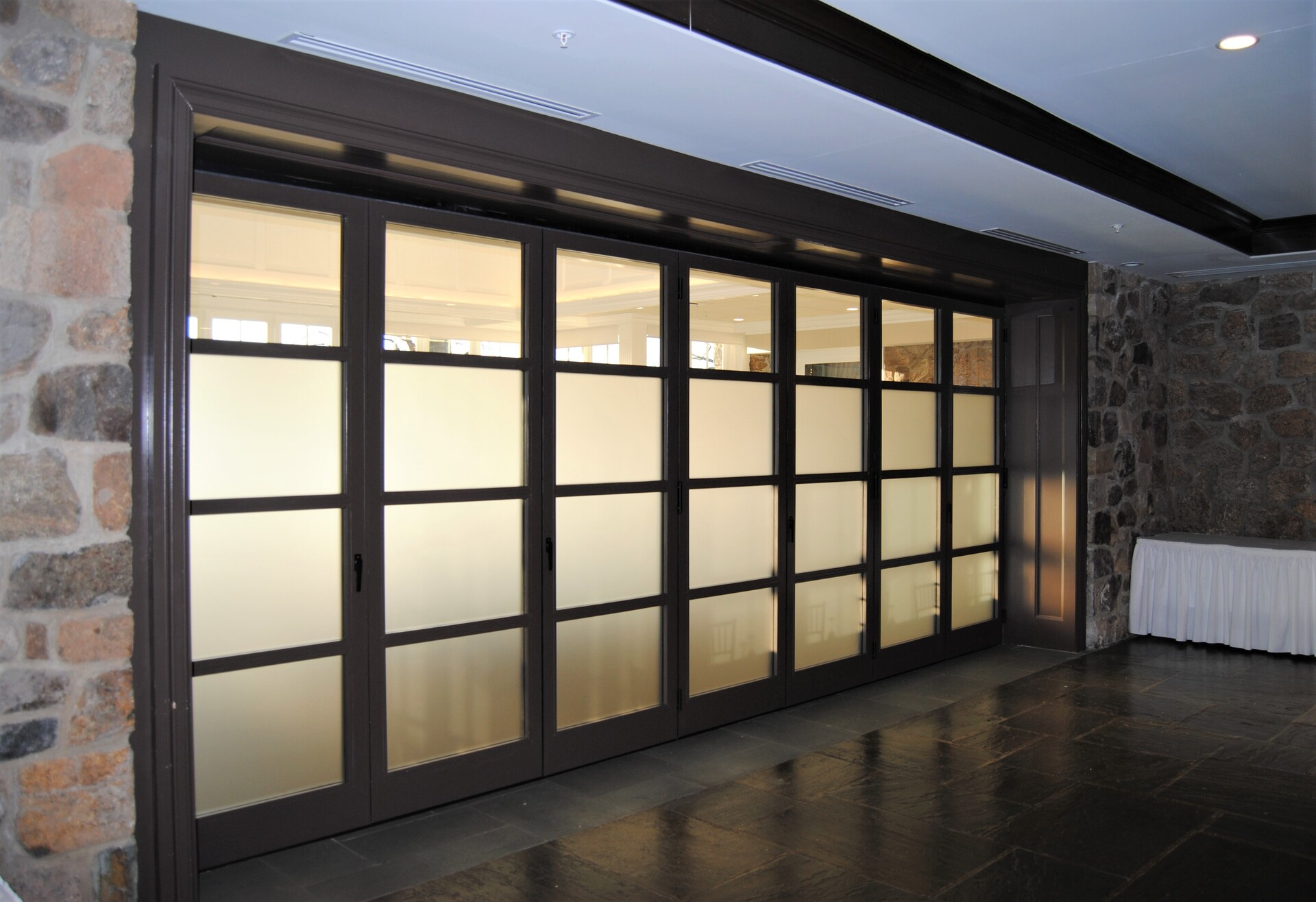 Custom sizes and configurations are available for ActivWall's horizontal folding walls. Seen here at the Fiddler's Elbow Country Club in Bedminster, New Jersey.