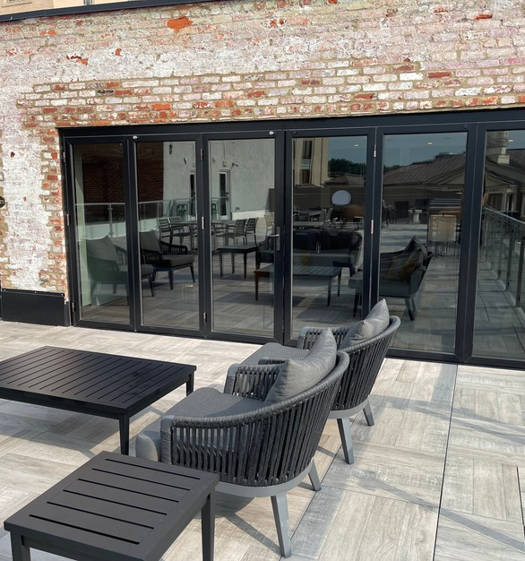 The design of the ActivWall Horizontal Folding system allows it to be used as a single outswing door, a set of double outswing doors, or you can open all the panels for full access to the suite.