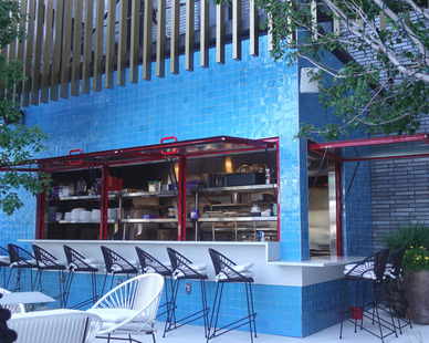 ActivWall Gas Strut Windows make the exterior of this hotel bar the perfect place to sit and enjoy Dallas, Texas.