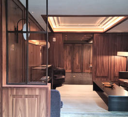 activwall walker hotel nyc lounge space wooden dividing doors