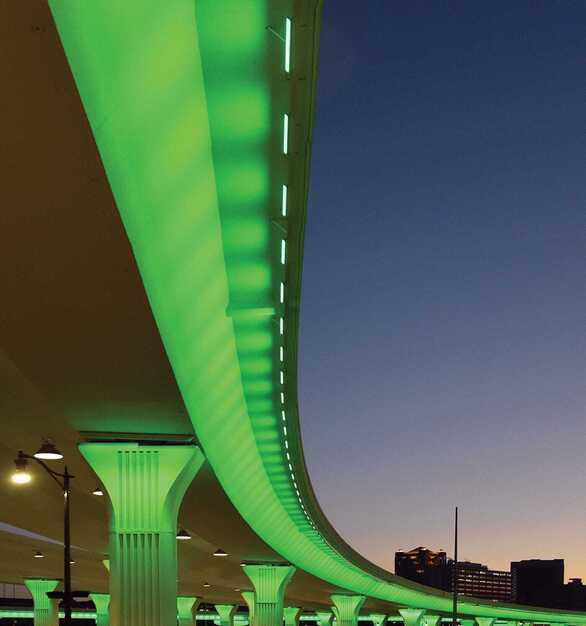 I-20/I-59 Bridge Overpass is located in Alabama and was recently reconstructed in Birmingham's Central Business District, featuring lighting products from Acuity Brands - Winona® Lighting. Project in collaboration with Volkert, DGA Architectural Lighting Design, Barge Design Solutions, and Acuity Brands agent AMA Lighting.  Photo credit: Joe Songer, AL.com