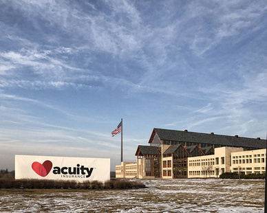 """Acuity Insurance Calls on Cordeck:   Multi-Phase headquarters expansion relies on In Floor Cellular Raceway System With its newly expanded and renovated corporate headquarters in Sheboygan, WI, Acuity Insurance now enjoys a best-in-class facility. And with this facility come new demands and requirements for power and data that only Cordeck's In Floor Cellular Raceway System can satisfy.  Acuity's original headquarters building featured a cellular raceway system. Happy with its performance, the company made it a priority to continue to use the same system in the building's expansion.  Kurt Lodl, Director of Facility Projects for Acuity says, """"Our building expansion and renovation required a durable, high-quality, In Floor Cellular Raceway System that could be delivered on schedule. Cordeck's system met all of these requirements, in addition to being easy to work with and easier to assemble than other products.""""  The first phase of the expansion began in March 2015, the second in January 2016, and the project was completed in March 2017. Throughout the facility, every open office space is now outfitted with Cordeck's N-R-G FLOR® In Floor Cellular Raceway System.  The N-R-G FLOR system provides a versatile solution for wire and cable management inside Acuity headquarters. Using a 5'x5' cellular and preset module, the system offers wire and cable distribution to exact design specifications. As a complement, Cordeck's expertise in project management provided a seamless path to system completion.  Construction Supply & Erection, Inc. (CSE) was the installer of the N-R-G FLOR deck, relying on Cordeck for design specifications and assistance throughout the project.  """"Cordeck detailed the whole floor deck for us, including all of the dimensions and installation details,"""" says Adam Heinze, Project Manager for CSE. """"In addition, Cordeck was readily available to ensure the installation was seamless and successful. From pre-planning to the final installation of the cellular race"""