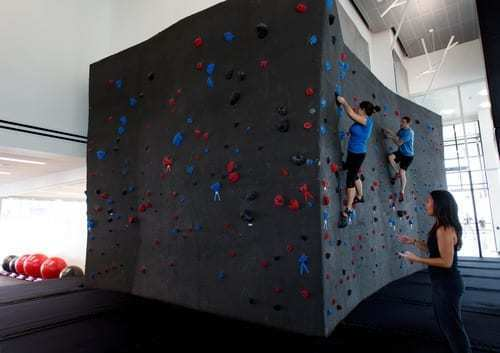 The Adobe corporate office in Lehi, Utah features an amazing high performance, 750 sq. ft climbing wall.