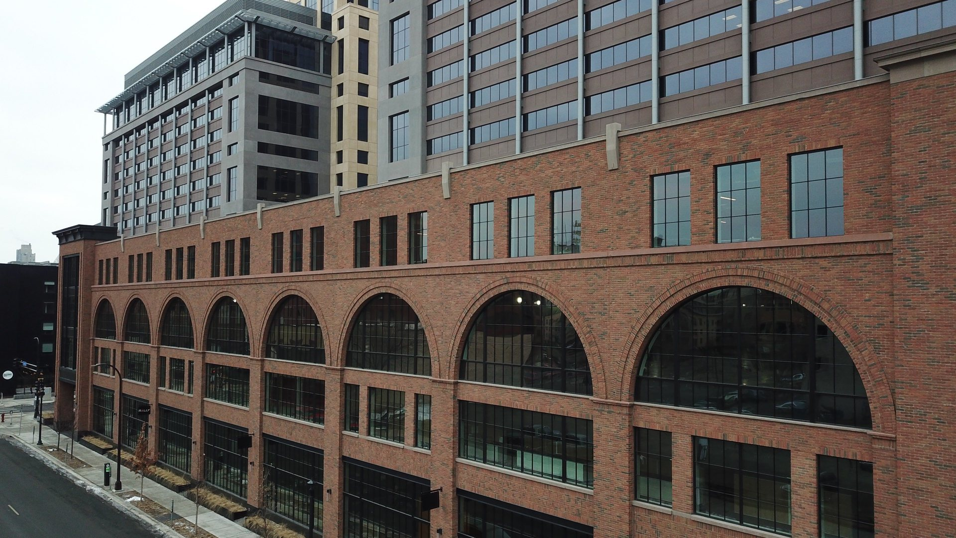 The four-story Millwright building is new construction, but historic-looking exterior features Advanced Formliners Thin Brick