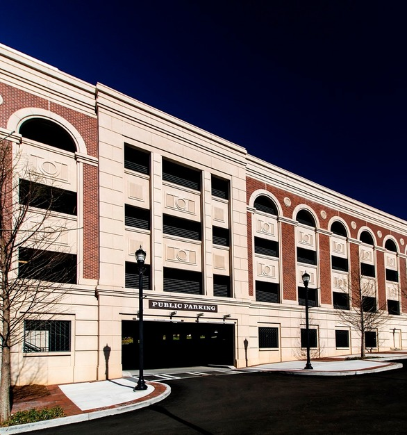 The city center parking ramp in Alpharetta, GA, features the Solocast Embedded Brick System by Advanced Formliners.