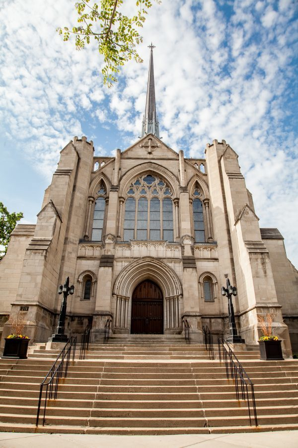 Beautiful exterior of Hennepin Avenue United Methodist Church that Advanced Masonry worked on.