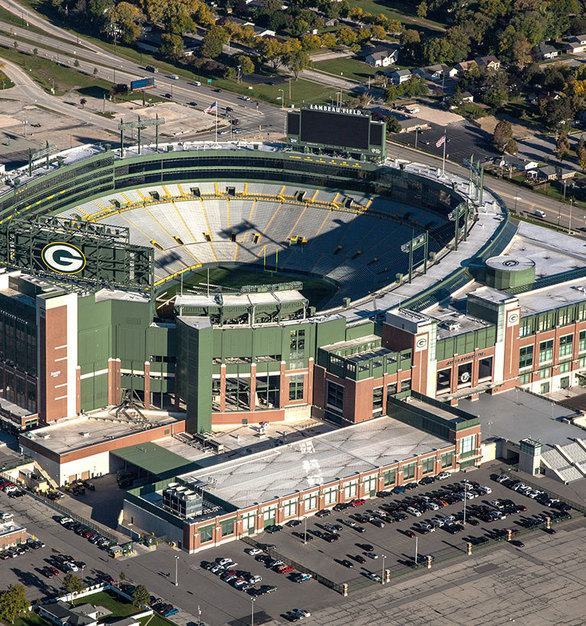 Gorgeous aerial view of Lambeau Field in Green Bay, Wisconsin, constructed by Miron Construction.