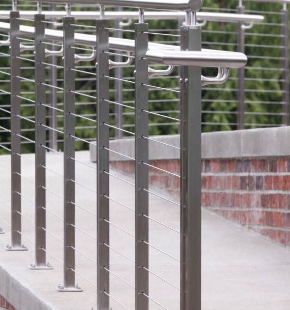 The Rainier cable railing system is sleek, sophisticated, and offers a contemporary style.