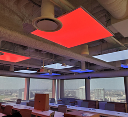 Akuna Capital Meeting Room Featuring Colorful LED Lighting Panels