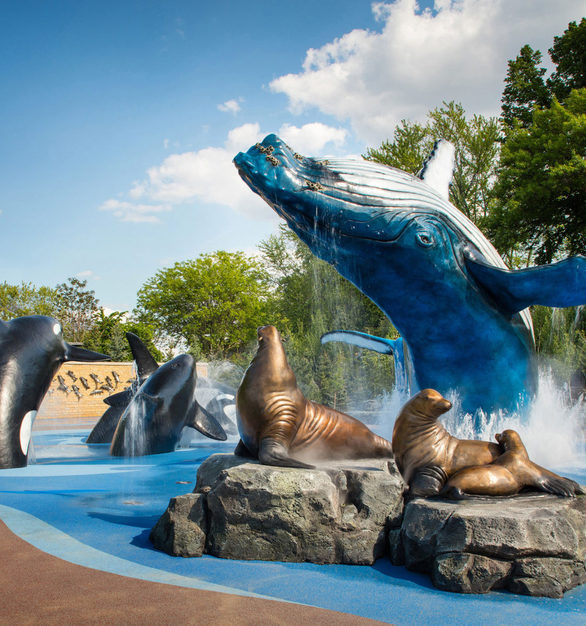 This Monumental Sculpture, created by Placzek Studios, showcasing a variety of sea wild life at Omaha's Henry Doorly Zoo in Omaha, NE.