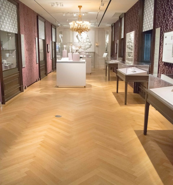 Allegheny Mountain Hardwood Floorings Rift & Quartered White Oak FSC certified flooring in a herringbone design is featured in the Museum of the City of New York.