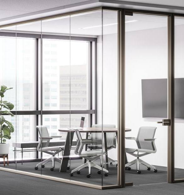 A modern office space design featuring Allsteel Aspect glass walls.
