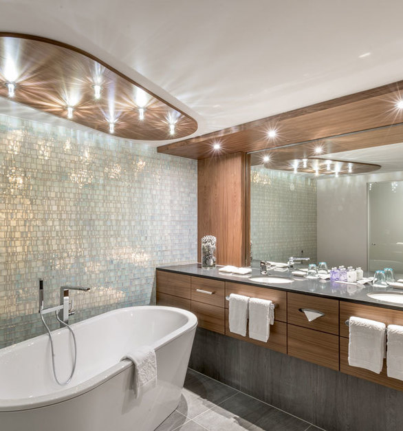 One of the of beautifully designed bathrooms is the penthouse at Alpen - Wellness Resort Hochfirst