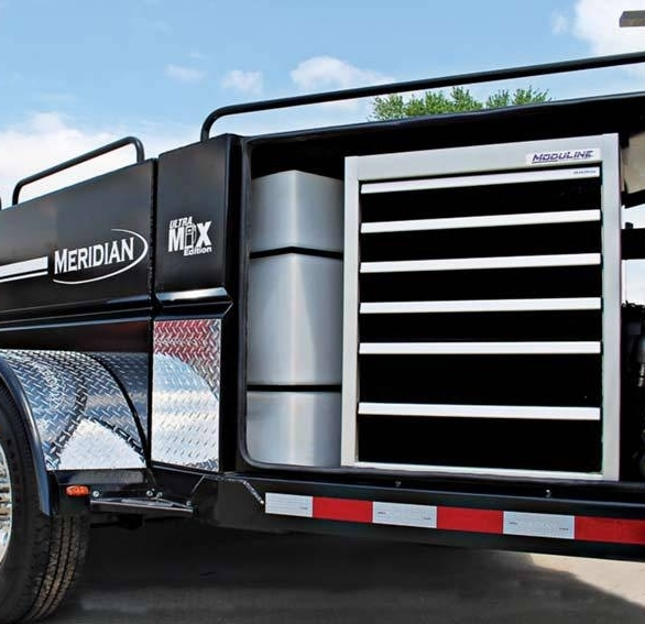 Moduline's signature Black PROII™ aluminum tool box fits in many locations, seen here in a trailer.